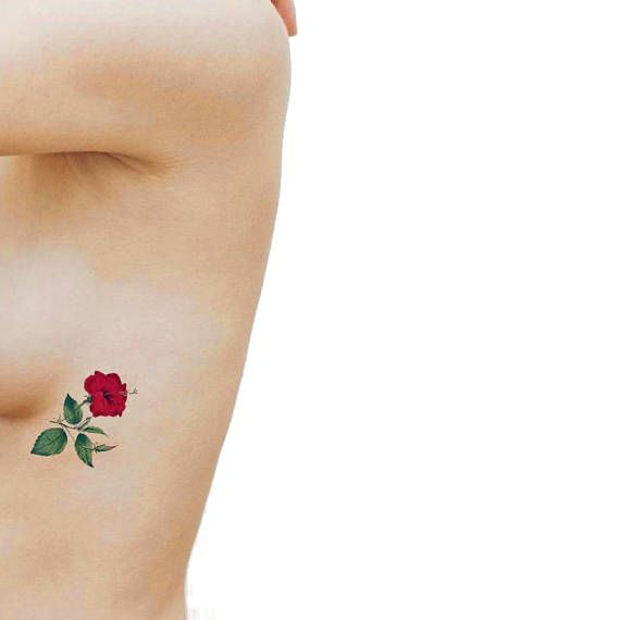 Red Hibiscus medium temporary tattoo / side boob tattoo / fake