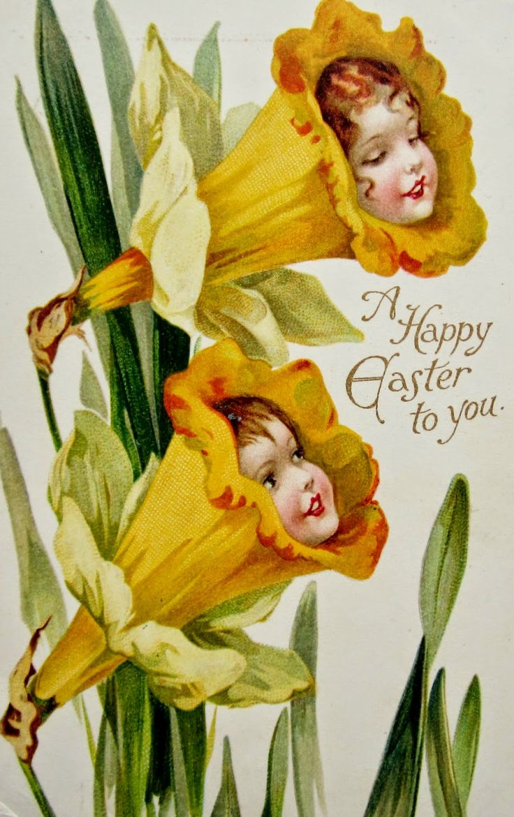 Nister FANTASY GIRL FLOWERS EASTER Postcards