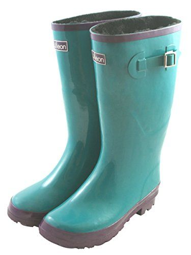Jileon Wide Calf All Weather Durable Rubber Rain Boots For Women with Soft and Fluffy Lining on the Inside - Fits Perfectly For Calf Sizes Up To 18 Inches-Glossy Blue 9 Wide >>> Find out more about the great product at the image link.