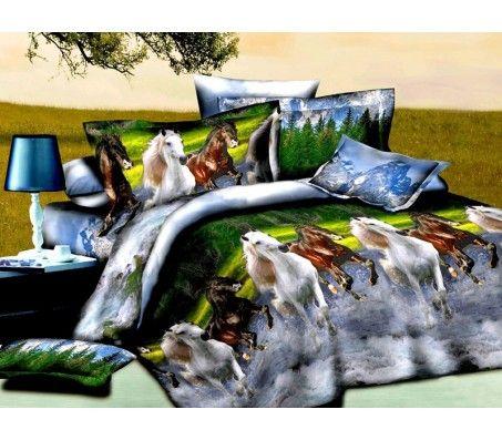 3D Double Bed Linen Set - Horses 2