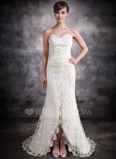Wedding Dresses - $158.99 - Trumpet/Mermaid Sweetheart Asymmetrical Satin Lace Wedding Dress With Beading Split Front (002032408) http://jjshouse.com/Trumpet-Mermaid-Sweetheart-Asymmetrical-Satin-Lace-Wedding-Dress-With-Beading-Split-Front-002032408-g32408