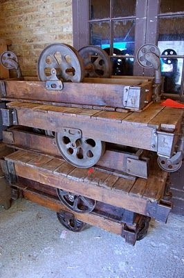 1930's industrial trolleys-  These are so cool! I have seen them used in designs