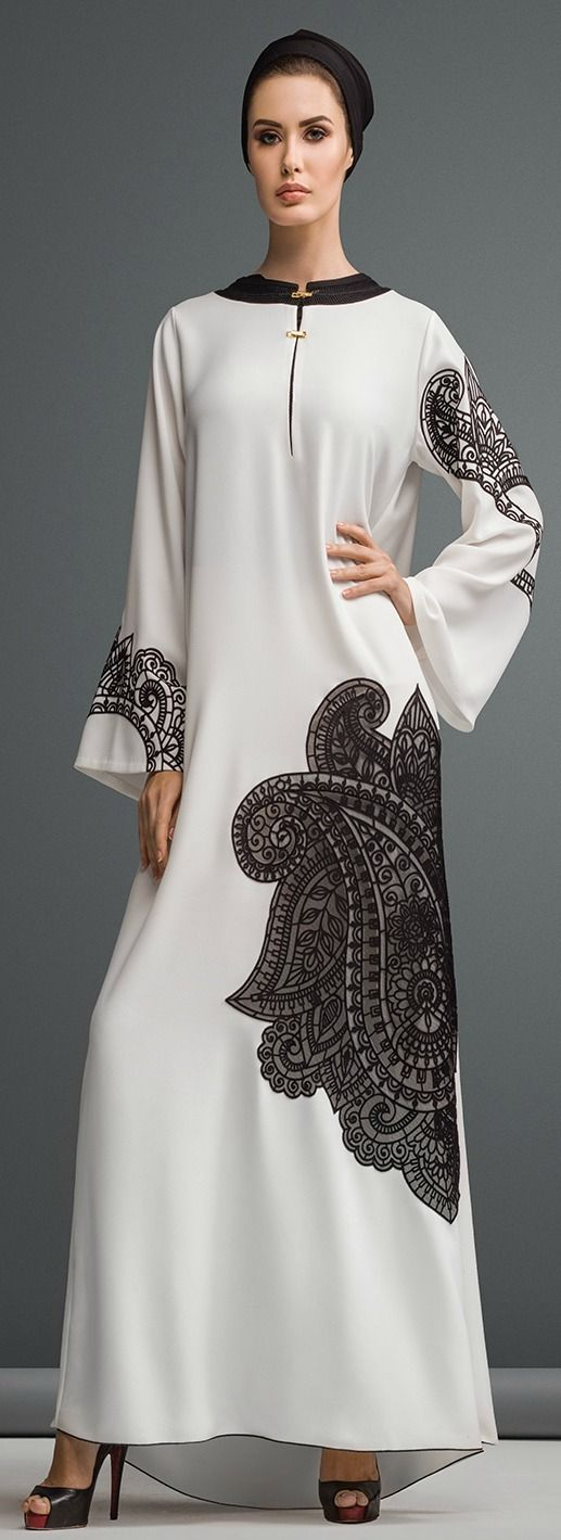 Hijab Fashion 2016/2017: Sélection de looks tendances spécial voilées Look Descreption Mauzan abaya Dubai..Work : Lasercut PAISLEY design Fabric : White Cr