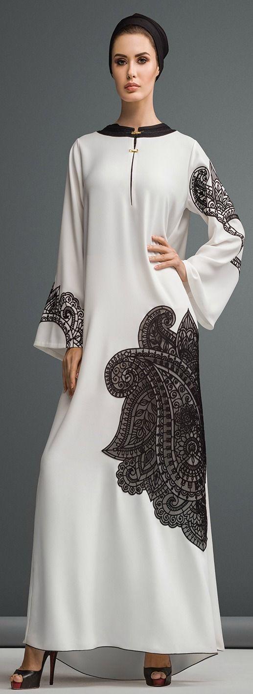 Hijab Fashion 2016/2017: Mauzan abaya Dubai..Work : Lasercut PAISLEY design Fabric : White Crepe  Hijab Fashion 2016/2017: Sélection de looks tendances spécial voilées Look Descreption Mauzan abaya Dubai..Work : Lasercut PAISLEY design Fabric : White Crepe