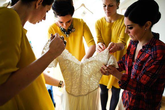 Beautiful yellow shift bridesmaid dresses