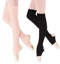 Body Wrappers leg warmers. Cheap! I bought these to wear with boots, i sweat too much in ballet to wear these while dancing.