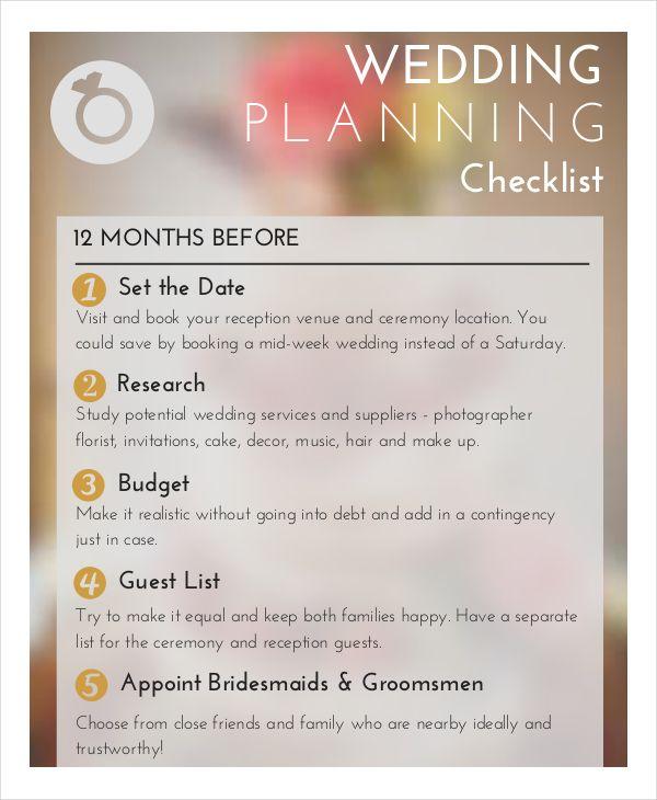 Wedding Planner Checklist Templates 9 Free Docs Xlsx Pdf