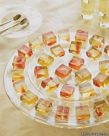 Jello Shots made of WINE?! Martha Stewart made them and calls them Gelees. These sangria-inspired gelees, are infused with sweet wines and subtly undercut with citrus flavors.  Classy!