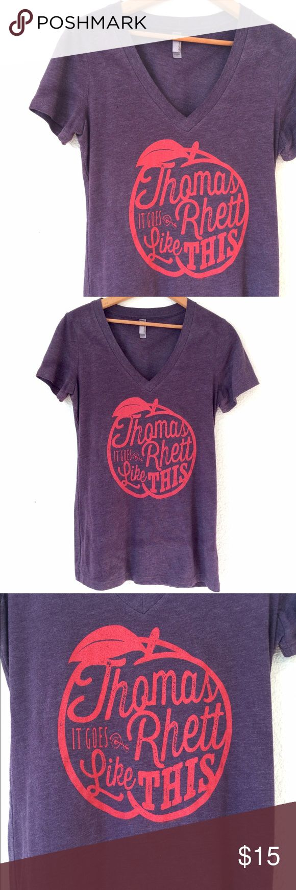 Thomas Rhett Concert T-shirt In excellent condition, purchased from Thomas Rhett concert and only wore a few times. Vintage feel, v-neck, size large, semi-fitted. Tops Tees - Short Sleeve