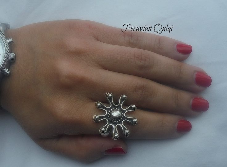 """Beautiful handcrafted Peruvian 950 silver, flower shaped ring with a dark """"burnt"""" finish.   Size 7   $40.00 https://www.facebook.com/pages/Peruvian-Qulqi/118631258281479"""