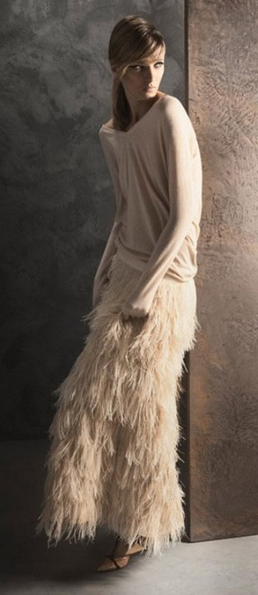 Daria Strokous for Massimo Dutti November 2011 Lookbook by Gemma Edo. #Fashion #Nude #Feathers
