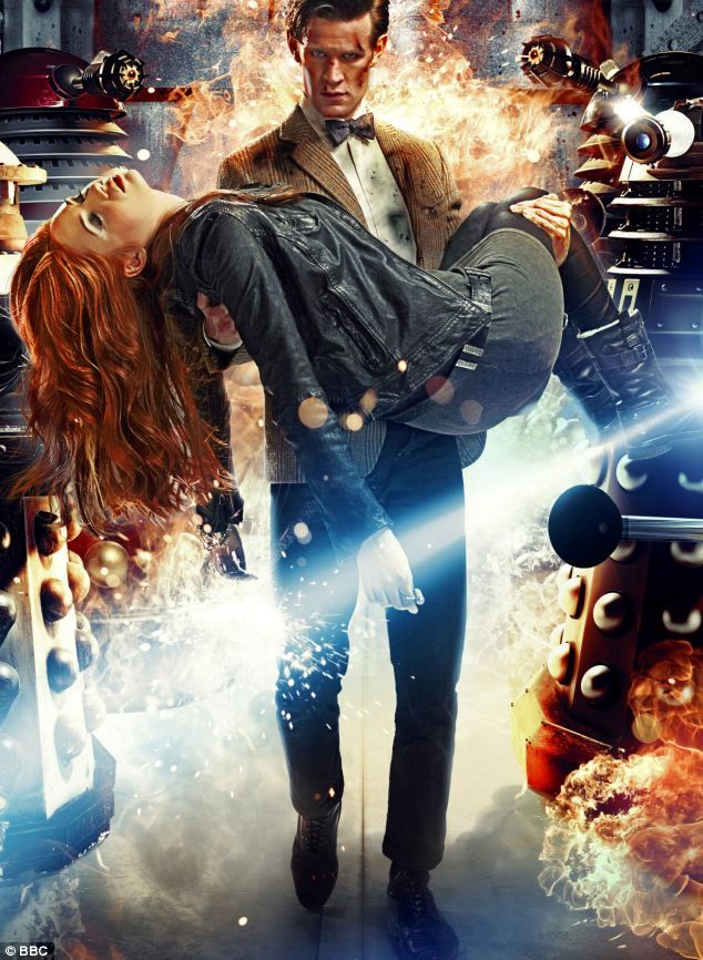 Matt Smith is quitting Doctor Who!!?!?!?!?  Matt Smith carrying former companion Amy, played by Karen Gillan
