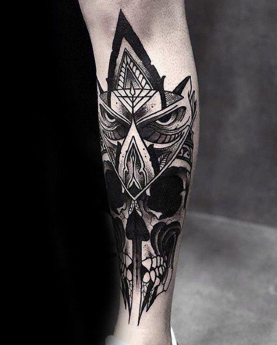 Owl With Skull Leg Artistic Male Great Tattoo Ideas Maoritattoos