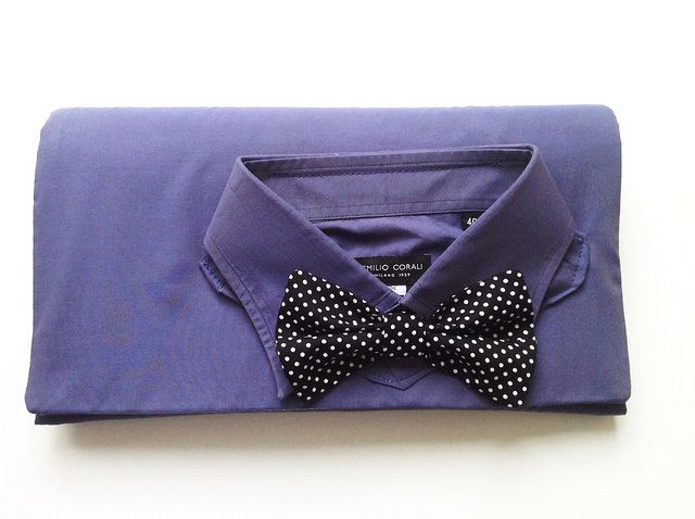 Upcycled men's shirt clutch with a bow