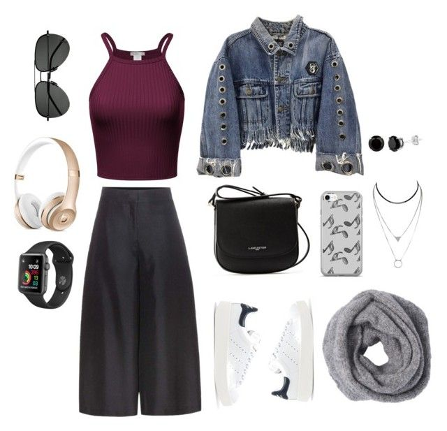 """""""Untitled #6"""" by afsyara-fifa on Polyvore featuring Valentino, Lancaster, adidas Originals, Music Notes and Yves Saint Laurent"""
