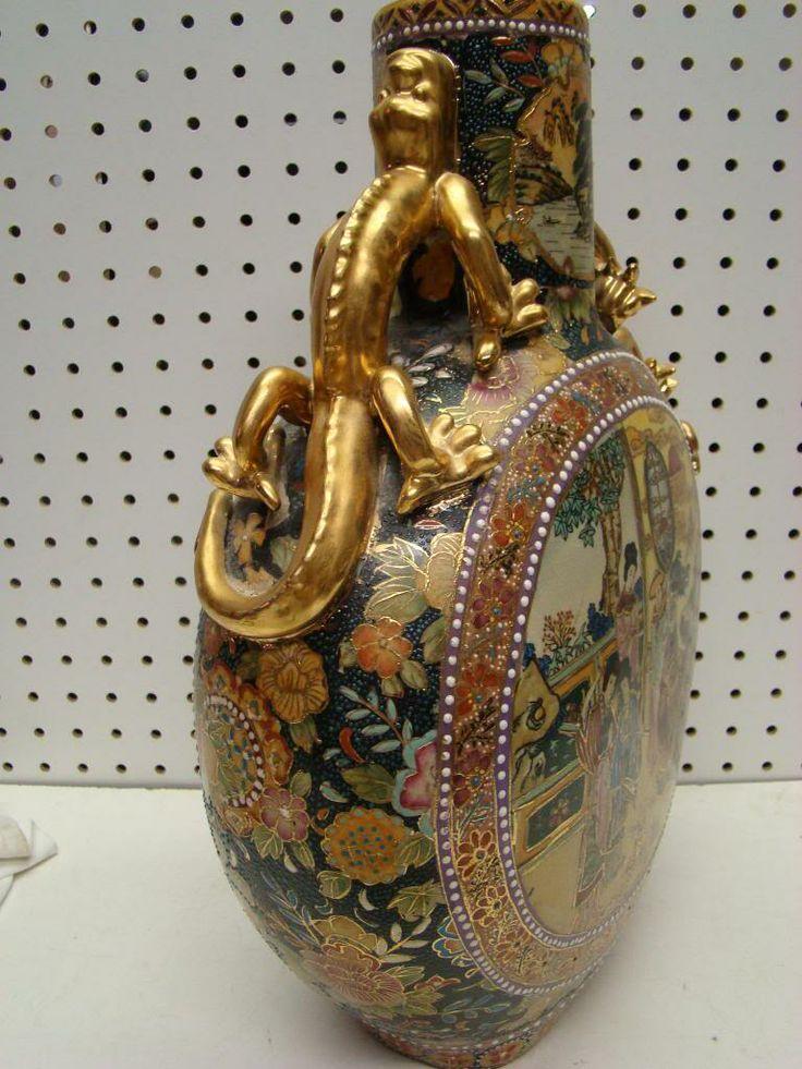 Antique Enameled Beaded Japanese Satsuma Pottery Gold