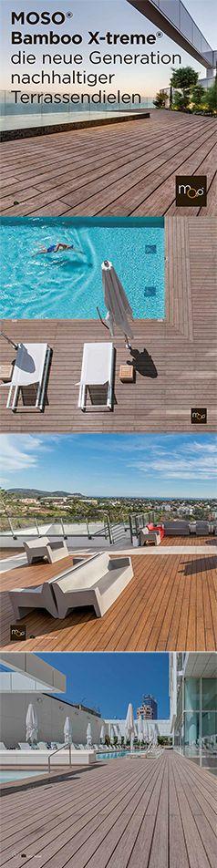 Mit den Terrassendielen MOSO® Bamboo X-treme® aus nachhaltig gewachsenem Bambus, gestalten Sie traumhafte Außenbereiche. Bamboo X-treme® Terrassendielen haben die Optik und Haptik eines natürlichen Materials und sind daher eine echte Alternative zu Tropenhölzern. Bamboo X-treme® ist verfügbar als: Terrassendiele, Fassadenprofile, Zaunelemente und Möbel-Konstruktionsbalken.