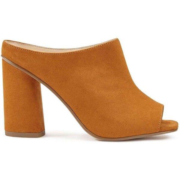 Miss Selfridge CHERISH Tan Immy Mules (100 CAD) ❤ liked on Polyvore featuring shoes, tan, high heel shoes, tan mules, high heel mules, colorblock shoes and miss selfridge