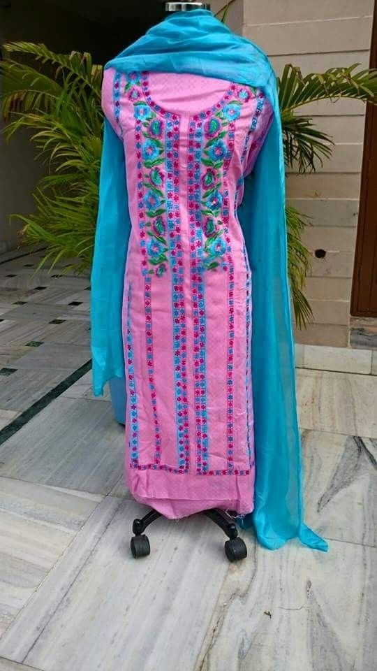 Machine Embroidered Pure Cotton Suit in Pink Color With Blue Bottom, With Pure Chinon Chiffon Dupatta