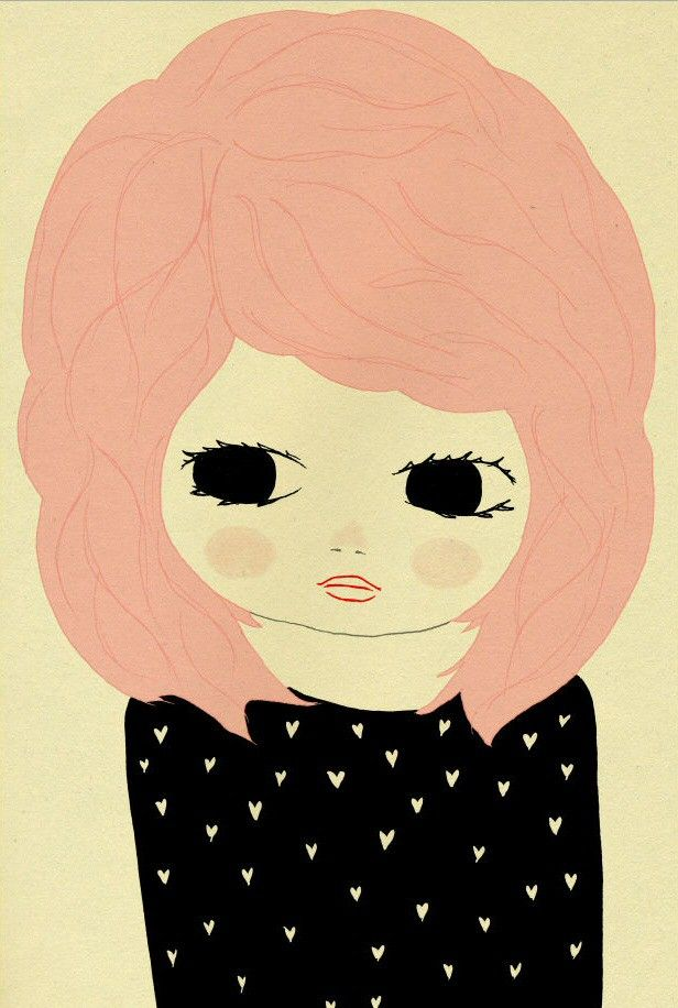 <p>Een prachtig dromerig meisje, Diana met roze haren en sjieke zwarte harten jurk. Perfect in combinatie met Lily of In it Together.<br />De poster heeft een A3 formaat.