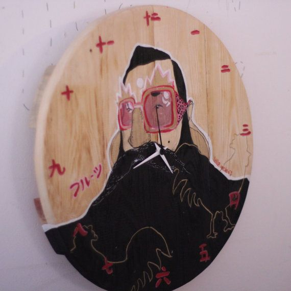 Funky bearded man illustrated hand painted clock by littlerocksPK