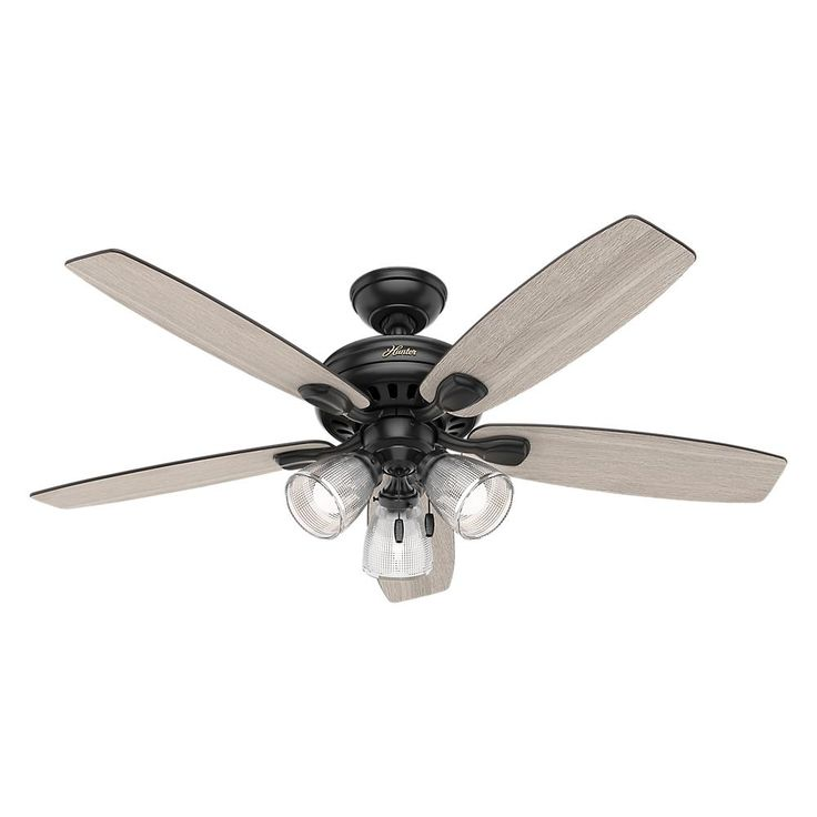 Hunter Highbury II 52 in. LED Indoor Matte Black Ceiling Fan with Light Kit-52028 - The Home Depot