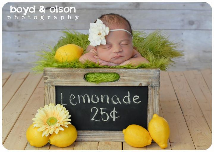 Inspiration for new born baby photography lemonade stand