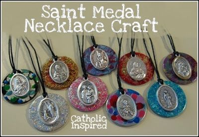 Saint medal necklace craft for Family of God award retreat for Girl Scouts? Or save for Junior's jewelry badge?