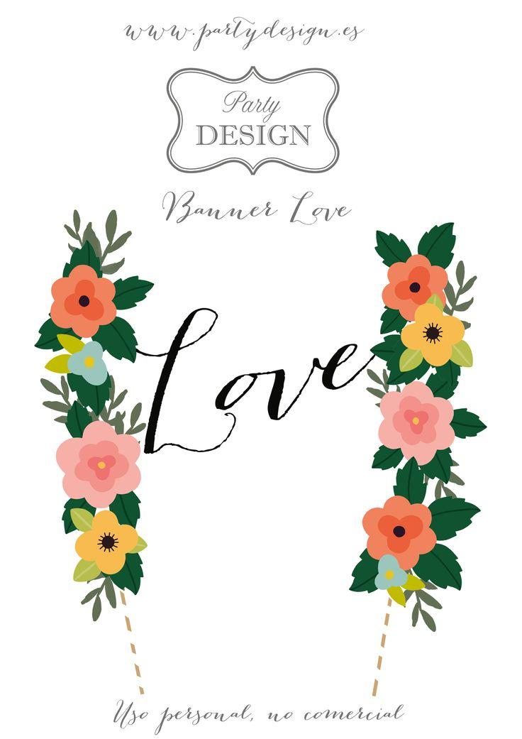 Banner love  para tartas y pasteles boda imprimible gratis. Banner love  for cake wedding printable free.