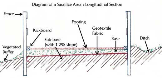 Diagram of a sacrifice area: longitudinal section