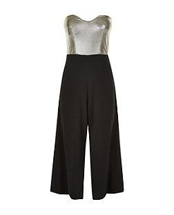 John Zack Gold Contrast Culottes Jumpsuit  | New Look