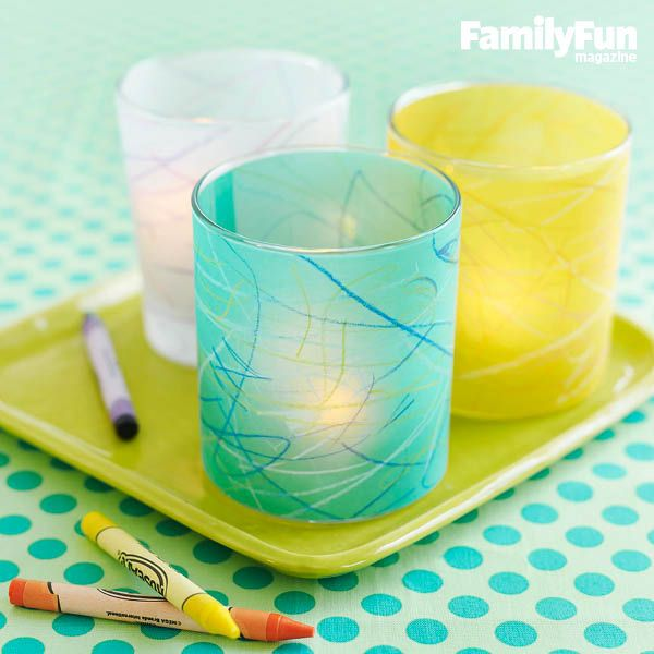 Colorful Vellum Votives: These delightful decorations let your kids' art shine and make it simple for young ones to craft a gift for someone special.