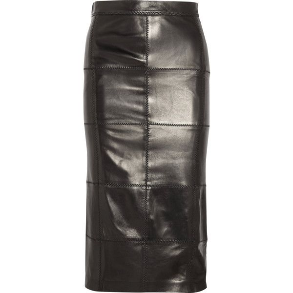 TOM FORDPatchwork Leather Midi Skirt (51.855 ARS) ❤ liked on Polyvore featuring skirts, black, leather skirt, mid calf pencil skirt, calf length skirts, tom ford skirt and real leather skirt