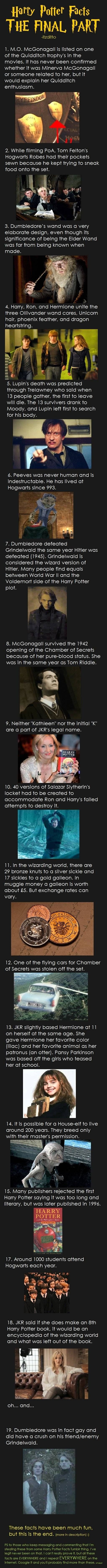 Harry Potter Facts 9 (The Final Part) - Imgur. (Re #1 and #8, if McGonagall was in school with Tom Riddle, she didn t play Quidditch with James Potter.)