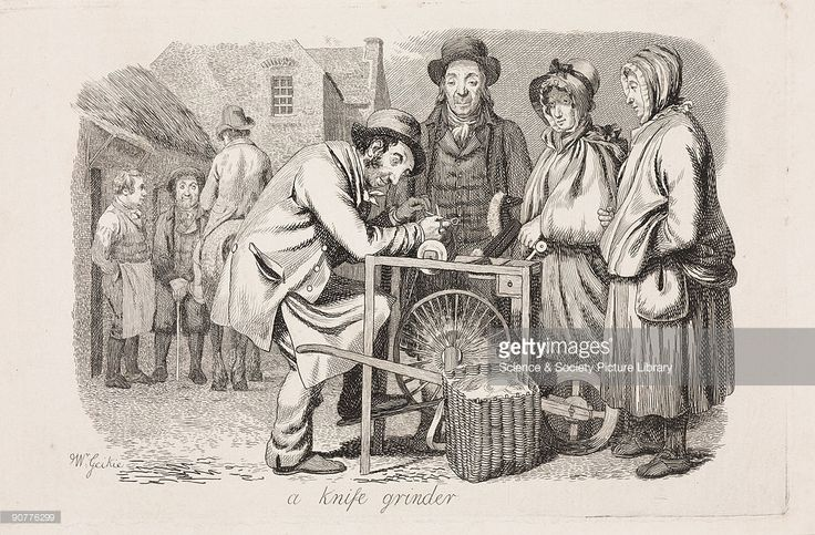 Etching by Scottish artist Walter Geikie (1795-1837) showing people waiting for the knife-grinder to sharpen their knives. One of a collection of works published posthumously in 1841 in Geikie�s �Etchings Illustrative of Scottish Character and Scenery�.