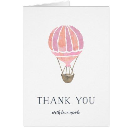 Pink Hot Air Balloon Personalized Thank You Card - thank you gifts ideas diy thankyou