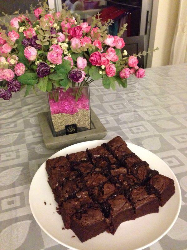 Fudge brownies + hershey's  Mouth watering