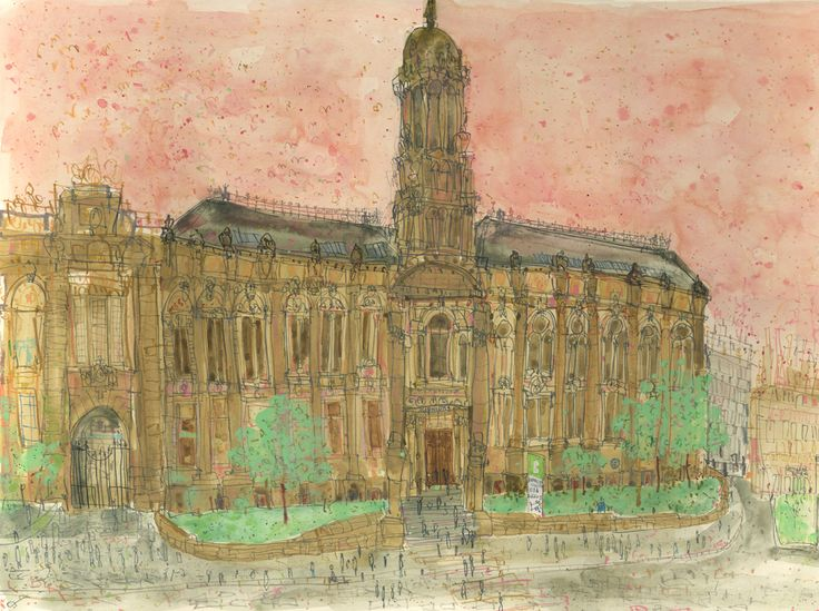 'The Old Building Bradford College' watercolour & pencil by Claire Caulfield