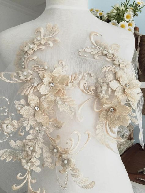 Exquisite Pearl Beaded 3D Lace Applique Set in
