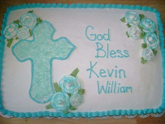 Baptism for a boy - 1/2 sheet yellow / chocolate cake ...