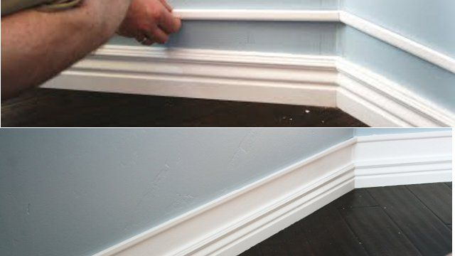 """Add a line of cheap ½"""" trim molding two or three inches above your baseboard molding and pain the wall between the two pieces the same color. Use a piece of wood of the desired thickness of the gap to make sure your trim molding is evenly spaced. Then, tape off the top and bottom and paint the entire new molding area."""