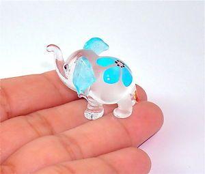 Elephant Hand Blown Glass Figurine - Blue Flower Print . | eBay