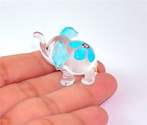 Elephant Hand Blown Glass Figurine - Blue Flower Print . | eBay