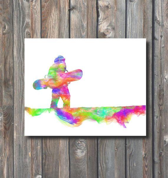 PRINTABLE Snowboarder Wall Art-Printable Home by HappyFiestaDesign