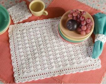 Crochet Placemat Pattern Square EMILY Placemats by hennasboutique