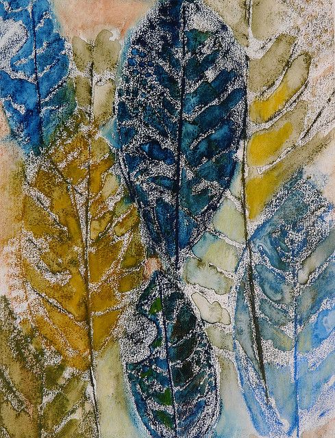 Leaves by Fi@84, via Flickr Frottage and water soluble crayon