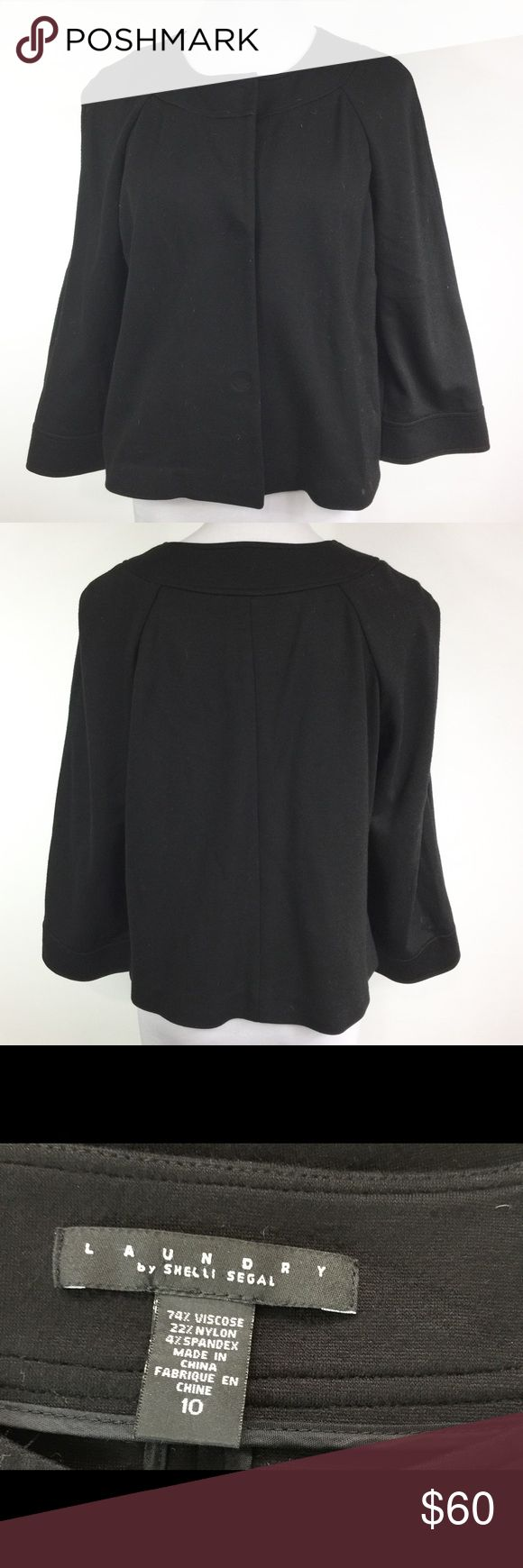 LAUNDRY BY SHELLI SEGAL BLACK SWING JACKET EUC hidden snaps in front. Laundry by Shelli Segal Jackets & Coats Blazers