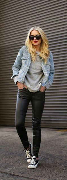 Casual in denim and leather.