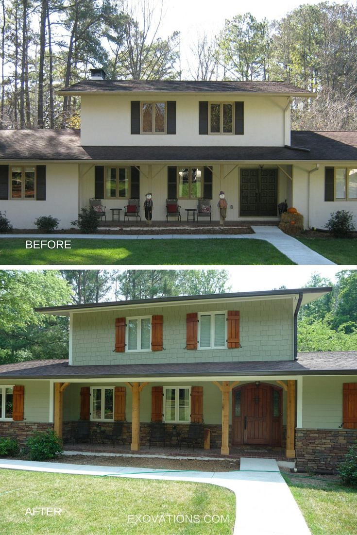 Painting amp remodeling contractors painters northern new jersey - A Complete Transformation For The Exterior Of This Home Cedar Porch Posts Shutters With New Hardware Arched Entry Door And Stone Water Table