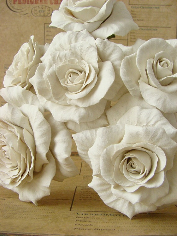 Hand Sculpted Set 6 Bouquet Ready Stems by TickledPinkPetals, $85.00
